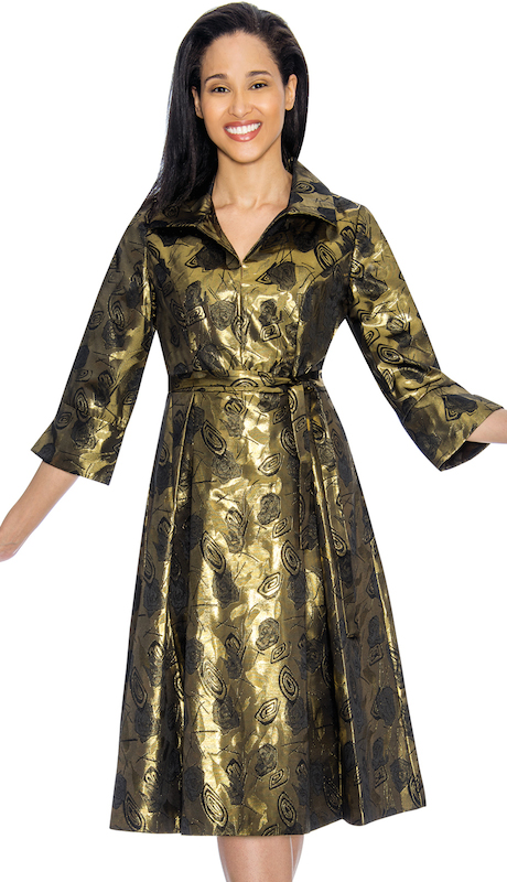 Nubiano 3041 ( 1pc Brocade Womens Dress For Church With Vibrant Patterning And Simple Collar )