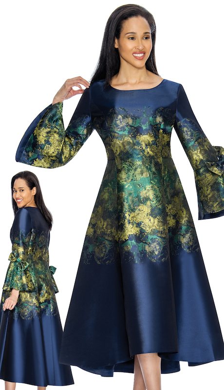 Nubiano 3221 ( 1pc Silk Look Womens Church Dress With Flare Sleeves And Beautiful Brushed Pattern )