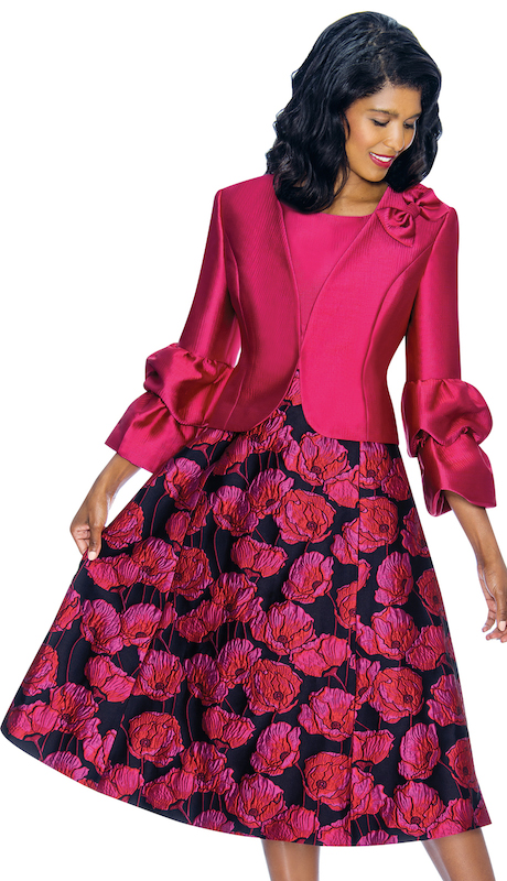 Nubiano 3242-IH ( 2pc Silk Look With Novelty Womens Sunday Dress With Fancy Bow And Floral Pattern )