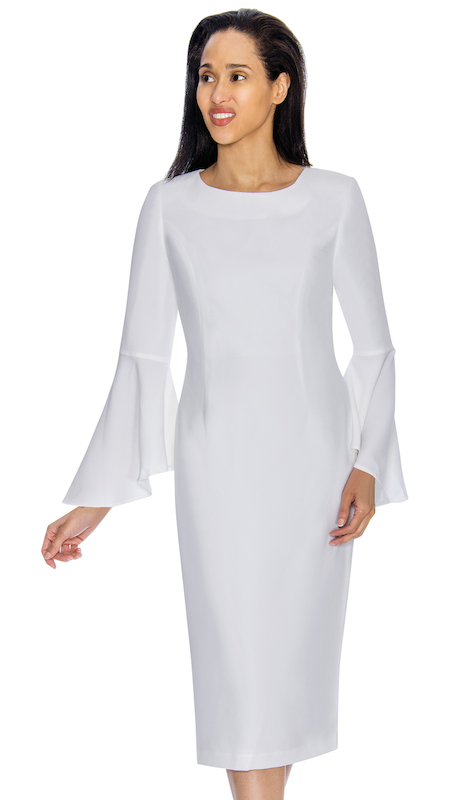 Nubiano 3781-W ( 1pc Renova Ladies Dress For Church With Flared Sleeves )