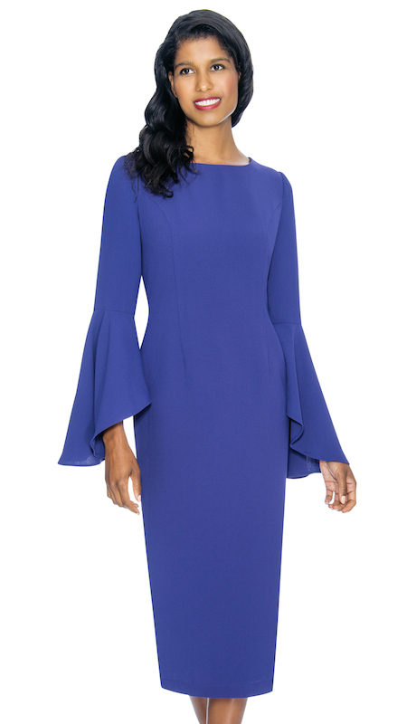 Nubiano 3781-P ( 1pc Renova Ladies Dress For Church With Flared Sleeves )