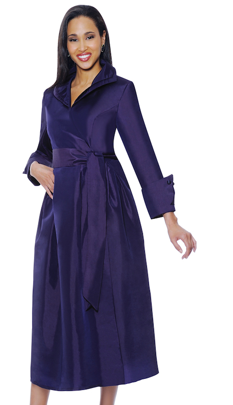 Nubiano 5371-P ( 1pc Womens Silk Look Church Dress With Fancy Cuffs And Collar )