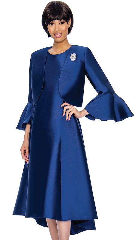 Nubiano 3072-N-CO ( 2pc Silk Look First Ladies Jacket Dress Set With Flared Sleeves And Rhinestone Brooch )