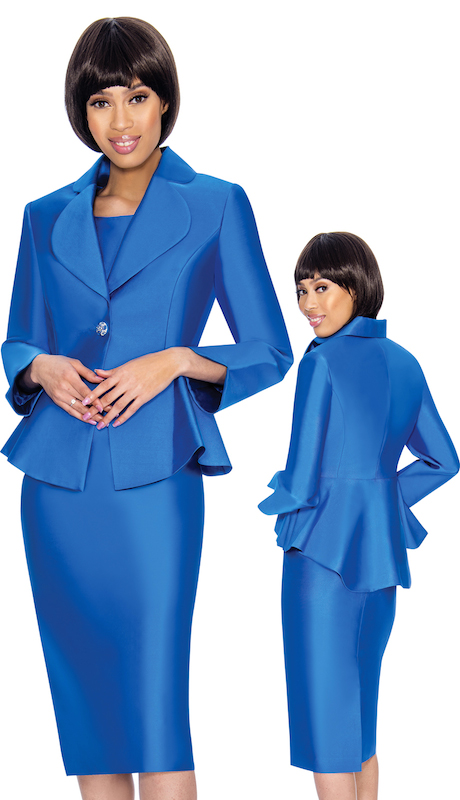 Nubiano 3082 ( 2pc Silk Look First Ladies Church Jacket Dress Set With Flared Back )
