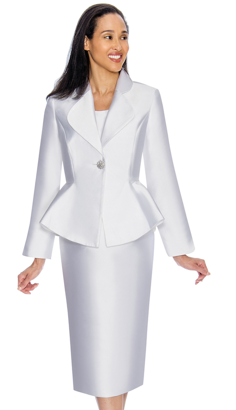 Nubiano 3082-W ( 2pc Silk Look First Ladies Church Jacket Dress Set With Flared Back )