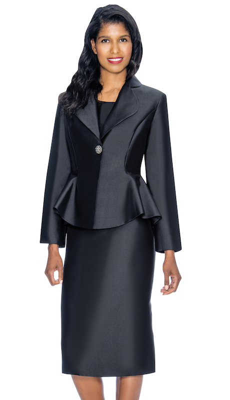 Nubiano 3082-B ( 2pc Silk Look First Ladies Church Jacket Dress Set With Flared Back )