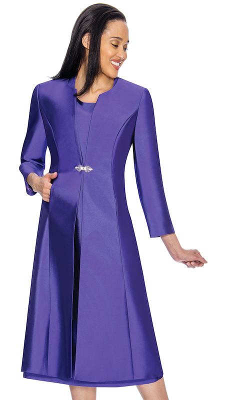 Nubiano 3092 ( 2pc Ladies Silk Look Jacket Dress For Church With Beautiful Brooch )