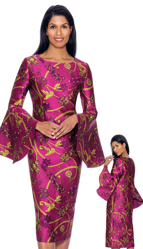 Nubiano 2911 ( 1pc Silk Look Dress In Powerful Graphic Print  And Wide Bell Sleeves )