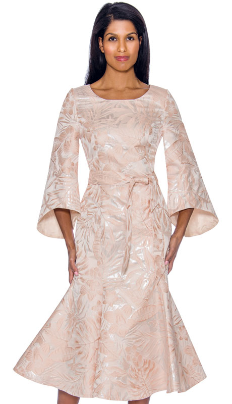 Nubiano 2991 ( 1pc Brocade Church Dress With Elegant Sleeves And Trumpet Flare Look )