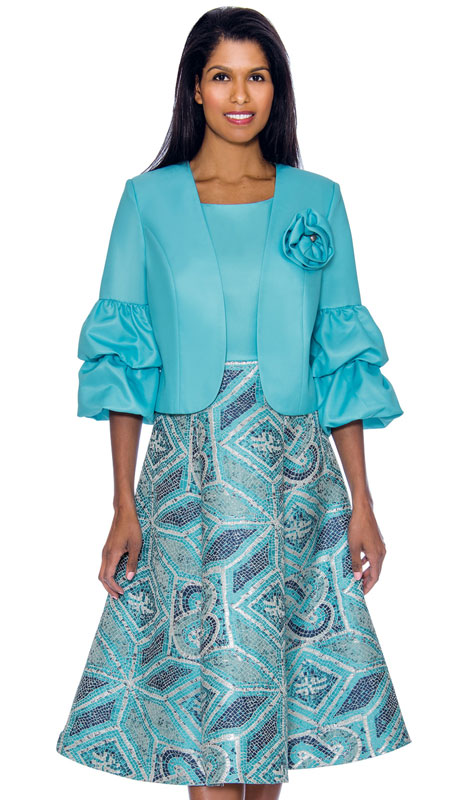 Nubiano 2882-CO ( 2pc Silk Look With Lace Dress With Puff And layered Sleeves And Geometric Print )