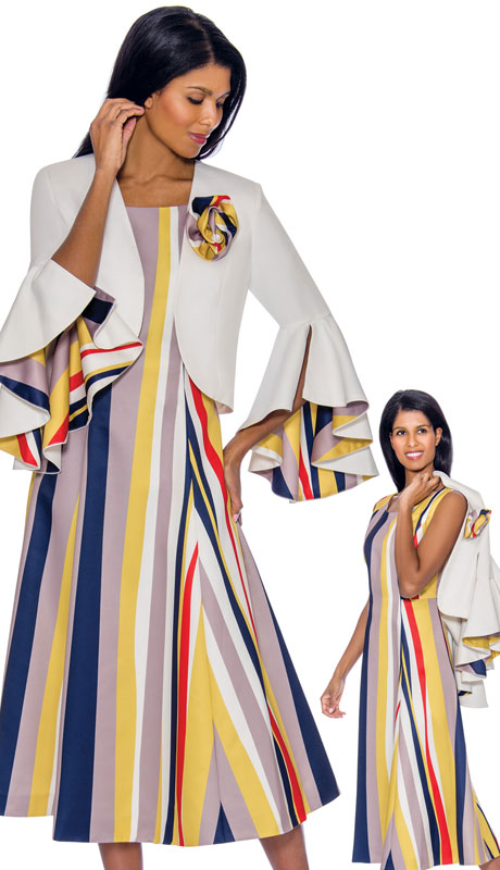 Nubiano 2942 ( 2pc Silk Look Dress For Church Dress With Elegant Split Bell Sleeves And Multi Colored Stripe Design )