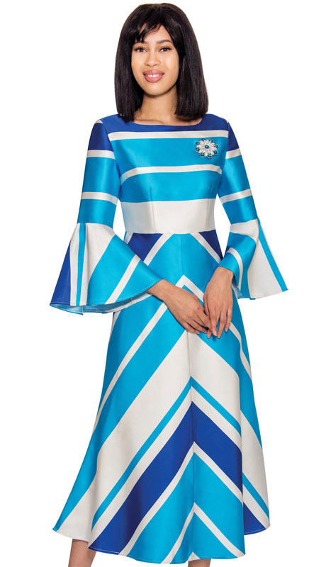 Nubiano 3001  ( 1pc Silk Look Color Block Dress With Chevron Pattern, Bell Sleeves And Jeweled Rhinestone Brooch )