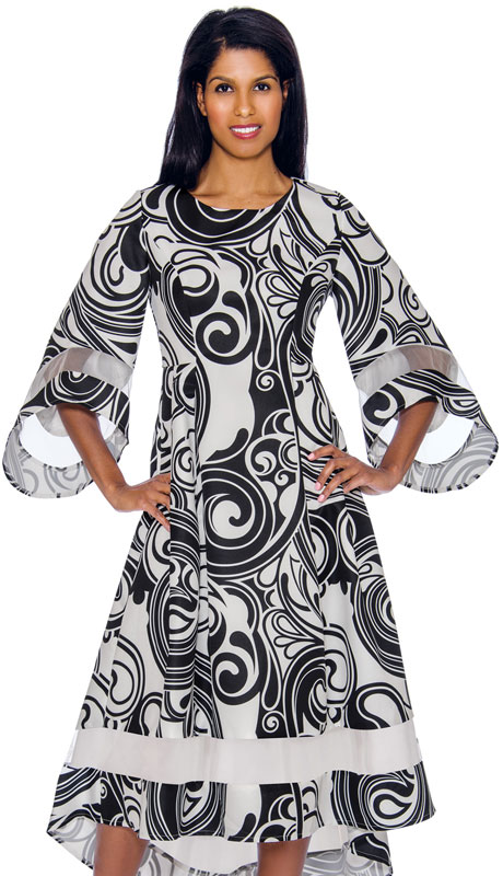 Nubiano 2971 ( 1pc Silk Look High-Low Silhouette Graphic Dress With Bell Sleeves )