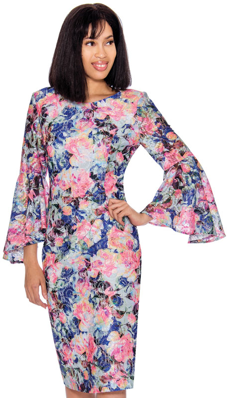 Nubiano 2891 ( 1pc Novelty Ladies Church Dress With Tulip Sleeves )