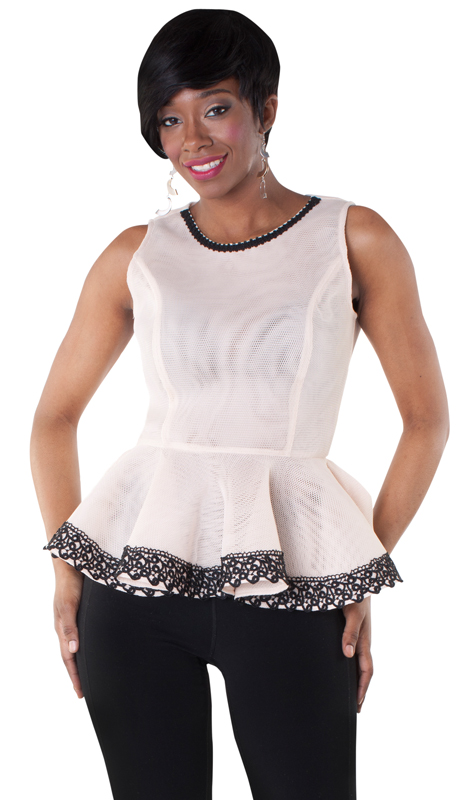 NYC Concepts 8501-NB ( 1pc Semi Sheer Peplum Top In Mesh With Lace Trim )