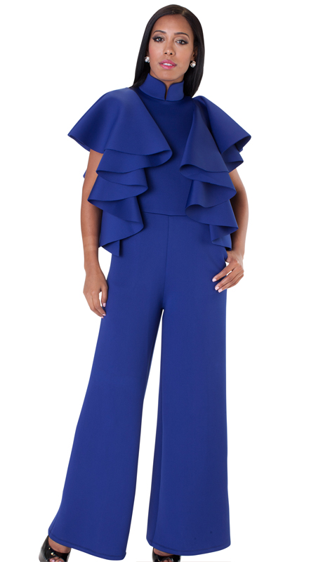 NYC Concepts 8644-RO-CO ( 1pc Ruffled Sleeve Jumpsuit In Scuba Knit )