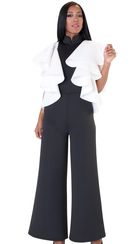 NYC Concepts 8644-BW ( 1pc Ruffled Sleeve Jumpsuit In Scuba Knit )