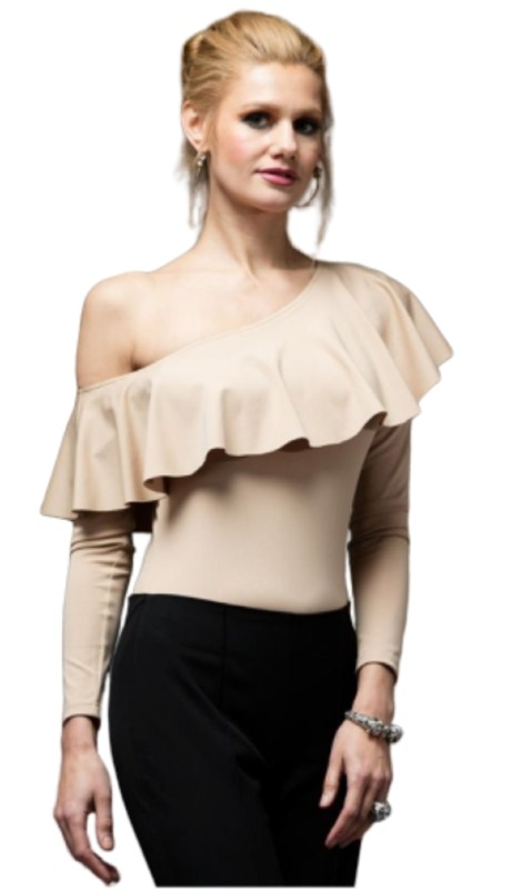 Why Dress T170388 ( 1pc  One-shoulder Bodysuit Top )