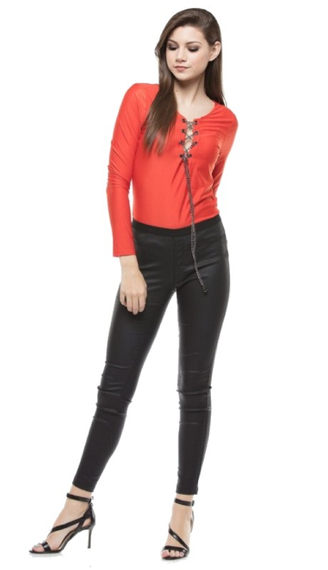 Why Dress T170389 ( 1pc Long Sleeve Chain Lace-up Bodysuit Top )
