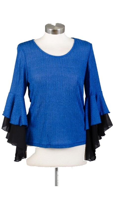 Why Dress T170424 ( 1pc Ruffle Bell Sleeve Jersey Top )