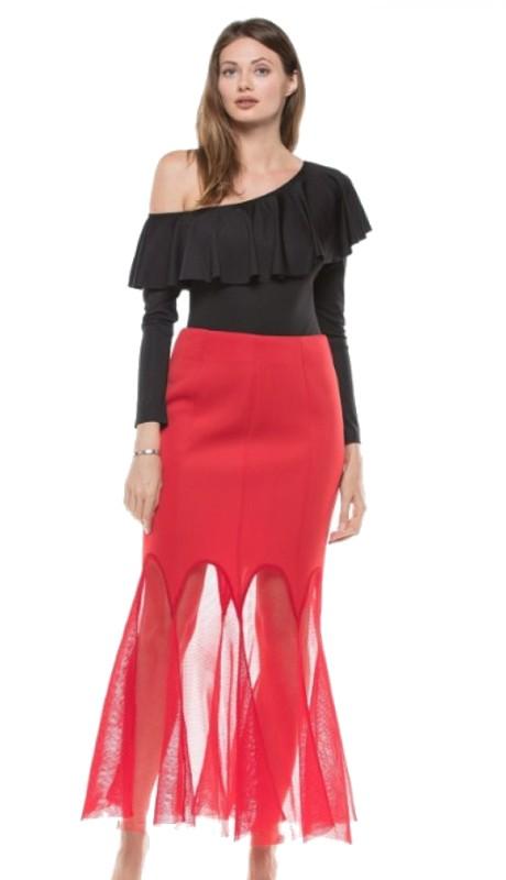 Why Dress S170442 ( 1pc  Sheer Mesh Godet Scuba Skirt )