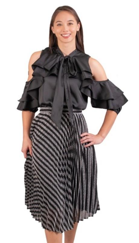 Why Dress S180100 ( 1pc Metallic Pleated Skirt )
