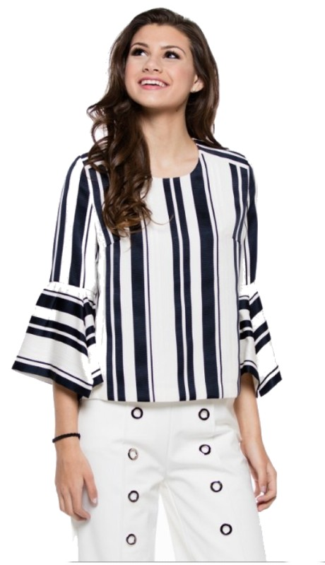 Why Dress T180111 ( 1pc Flare Sleeve Stripe Top )