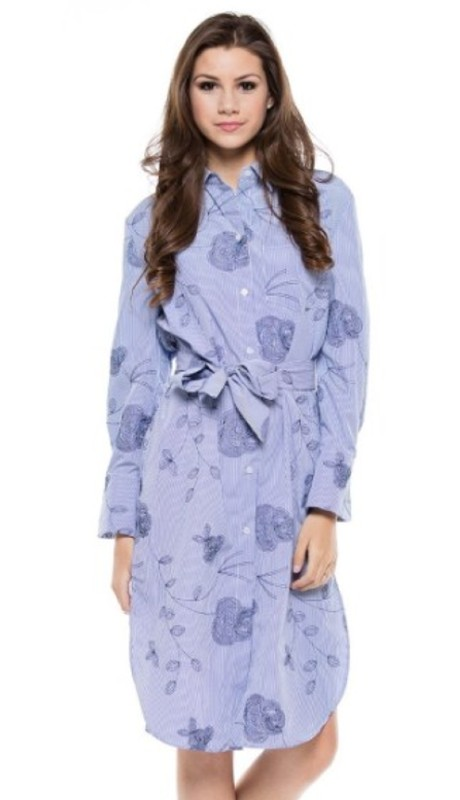 Why Dress T180141 ( 1pc Floral Embroidered Long Sleeve Dress )