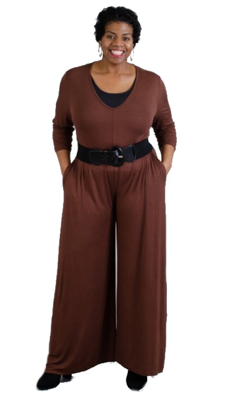 NF CHH18027 Three-Quarter Sleeve Jumpsuit with Pockets