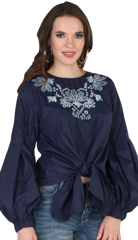 NYC Concepts 8736-NABB ( 1pc Balloon Sleeved Embroidered Top With Tie Waist )