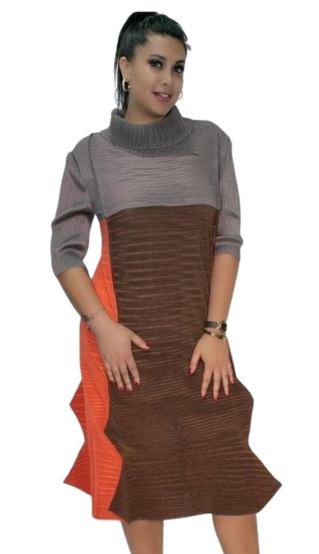 N by Nancy X7039 ( 1pc Cowl Neck Color Block Dress )