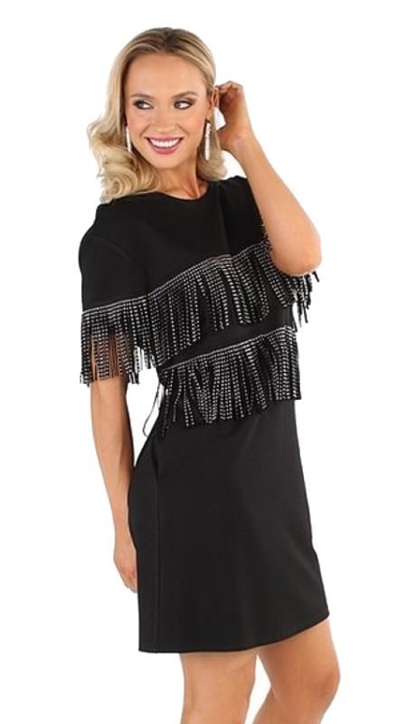 For Her 81642 ( 1pc Embellished Fringe Dress )