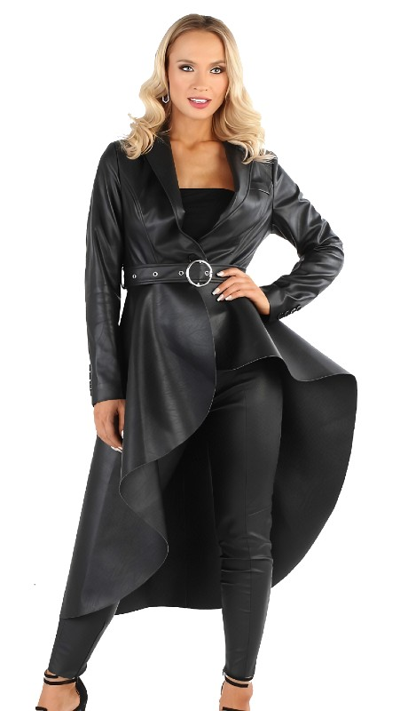 For Her 81730 ( 1pc Belted Faux Leather High Low Jacket )
