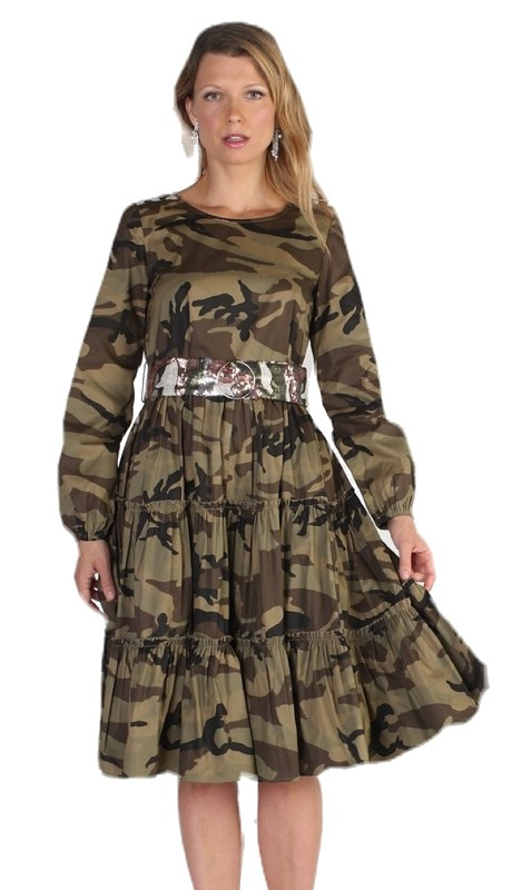 For Her 81738 ( 1pc Camouflage Print Belted Tiered Dress )