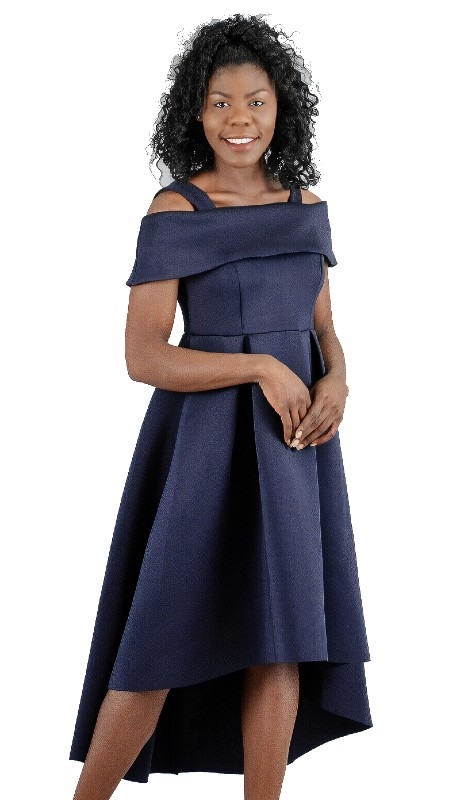 For Her 8731 ( 1pc Off-The-Shoulder High-Low Hem Dress )
