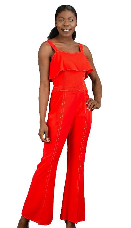 For Her 8762 ( 1pc Adjustable Strap Front Slit Jumpsuit )