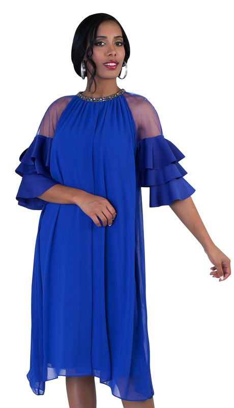 NYC Concepts 8743-RO ( 1pc Women's Draped Trapeze Dress In Chiffon With Sheer Shoulders, Tiered Sleeves And Rhinestone Embellished Neckline )