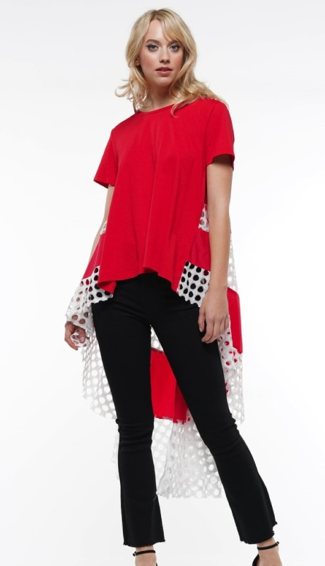 Why Dress T190001 ( 1pc Short Sleeve High Low Mixed Media Top )