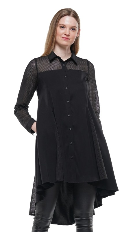 Why Dress T190168 ( 1pc Long Sleeve Sheer Yoke High Low Top )