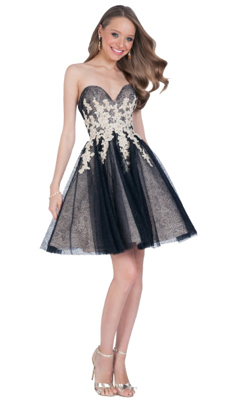Terani Prom 1611P0134 ( 1pc Lace Appl Strpls )