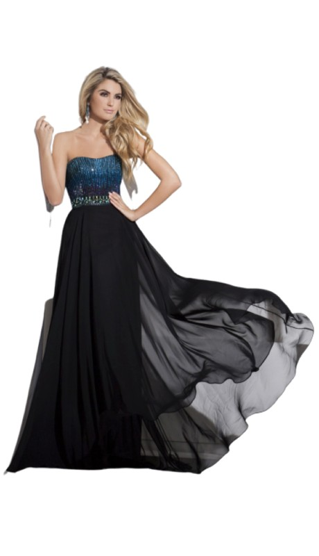 Tony Bowls Prom 115544 ( 1pc Beaded Chiffon Strpls )