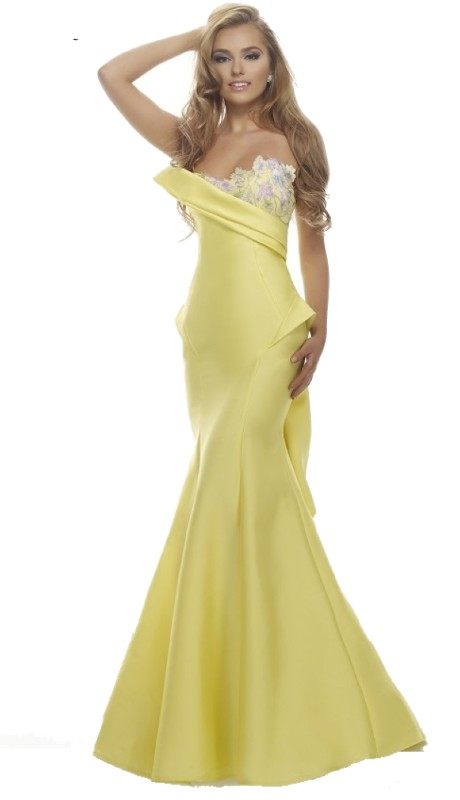 Janique By Kourosh Prom C1691 ( 1pc Strapless One Side Foral )