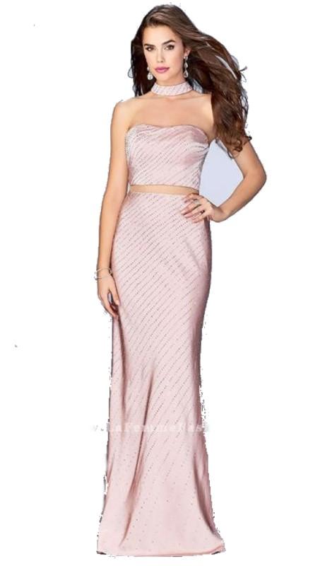 La Femme Prom 24594 ( 2pc Jersey Mock )