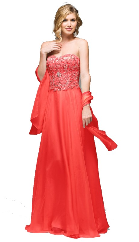 Jadore Prom J4035 ( 2pc Chiffon Beaded Bodice With Wrap )
