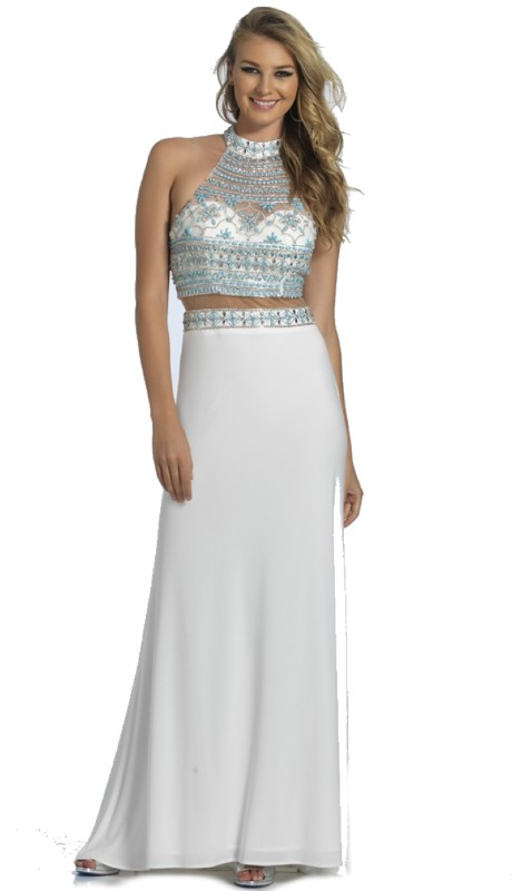 Dave & Johnny Prom A4286  (2pc Illus Beaded Halter )