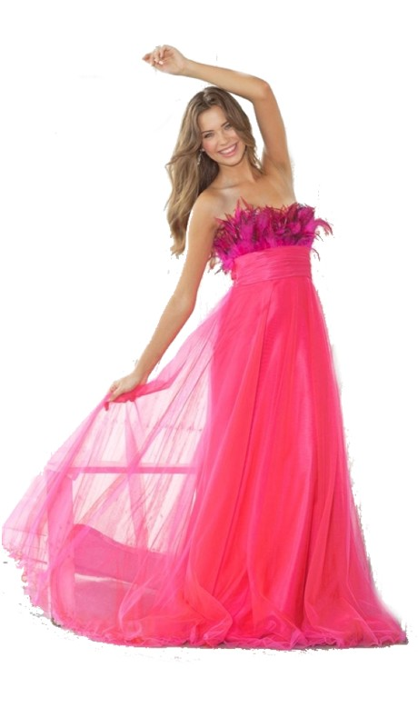 Pink Prom 5105 ( 1pc Fthr Tulle Empire )