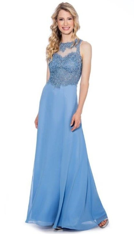 Cachet Prom 58416Z ( 2pc Chiffon Lace Bodice Sheer Front )