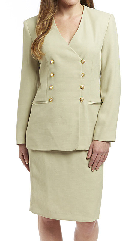 RF Studio 60503 ( 2pc Shantung Career Suit, Double Breasted Jacket And Skirt )