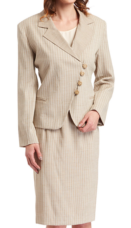 RF Studio 80050 ( 2pc Rayon Career Suit With Pin Stripe Jacket And Skirt )