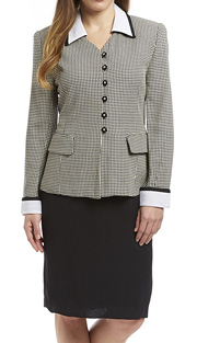 RF Studio 81001 ( 2pc Rayon And Linen Blend Career Suit With Houndstooth Pattern Jacket And Solid Skirt )